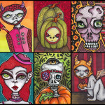 """Halloween Themed ATCs Each 2.5"""" x 3.5"""" pen and ink, Copic markers, gel pen"""