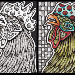 Spotted Rooster, black & white and color versions