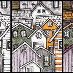 Stacked Housing in progress, pen and ink with Copic Markers