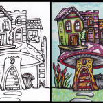 Villa van de Paddestoel, black & white and in color