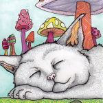 """Legend of the Sleeping Kitten 4"""" x 6"""" pen and ink, Copic markers"""
