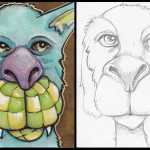 """Tag and As Yet Unnamed Beast Each 2.5"""" x 3.5"""" Copics, pencil"""