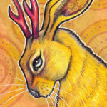 "Jackalope, 2.5"" x 3.5""