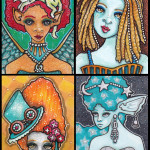 """Four Girls on Various Themes Each 2.5"""" x 3.5"""", pen and ink"""