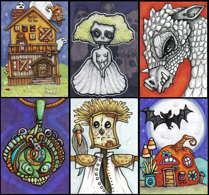 Six Halloween Art Cards Pen, Pencil, Copic markers, gel pen