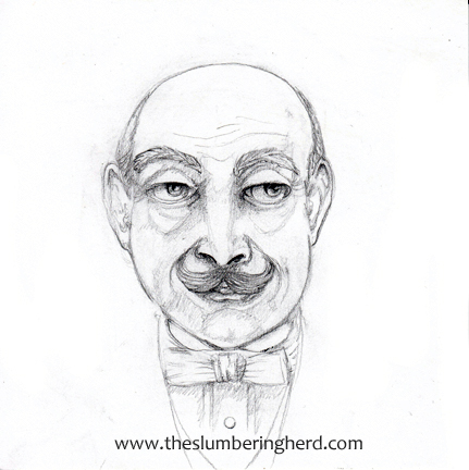"David Suchet's Hercule Poirot, sketch in progress, 6"" x 6"""