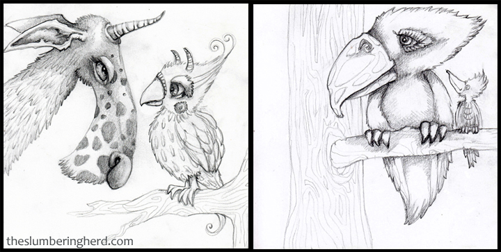 "2 with Birds, 6"" x 6"" pencil sketches"
