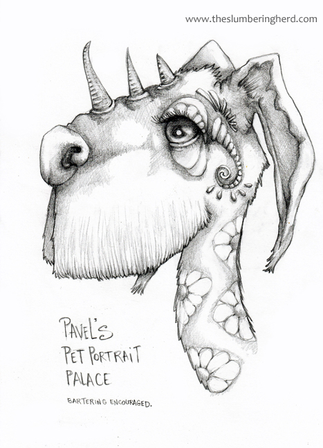 "Pavel's Pet Portrait Palace 9"" x 12"" pencil"