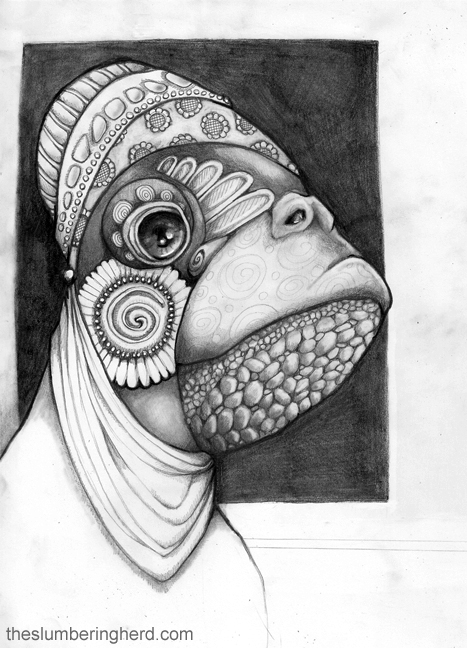 "A Turtle Merchant, 9"" x 12"" pencil"