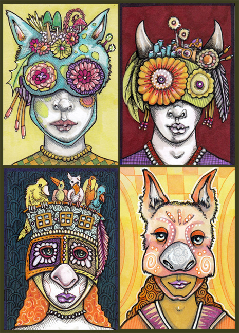 "Four with Masks Each 2.5"" x 3.5"" Ink, Copic Markers"