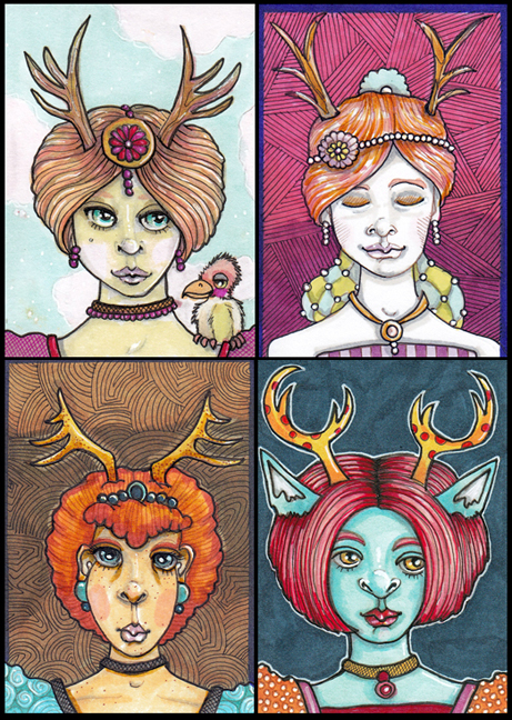 "Four with Antlers Each 2.5"" x 3.5"" ink, Copic markers"