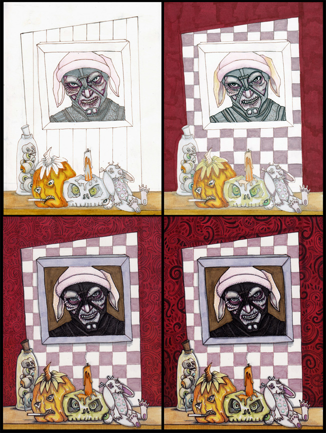 """That Time Scorpius Lost the Halloween Wager, 6"""" x 8"""" progress shots"""