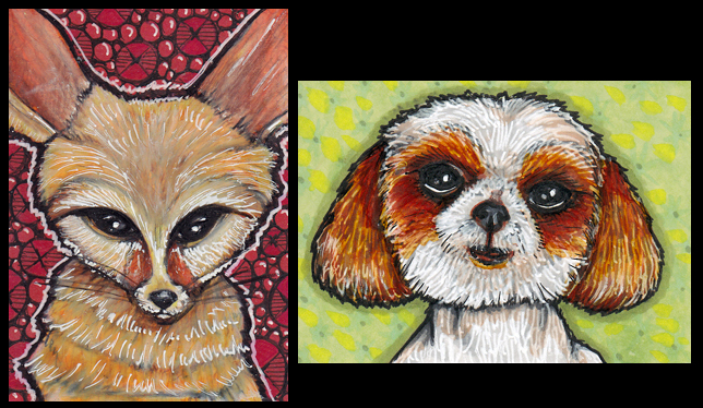 "Fennec Fox and Junebug Each 2.5"" x 3.5"" Prismacolor pencils, Copic markers"