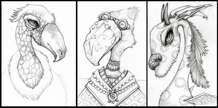 Three 5x7 pencil sketches, Dec 2015