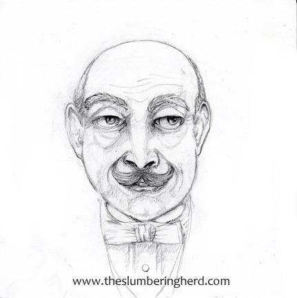 """David Suchet's Hercule Poirot, sketch in progress, 6"""" x 6"""""""
