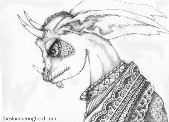 """Horned Oracle, 9"""" x 12"""" pencil sketch"""