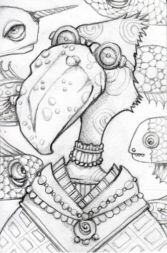 """And then there were fish, and things became muddled. pencil sketch, 5"""" x 7"""""""