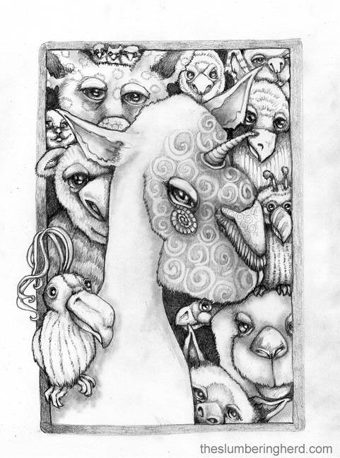 """Winfred, with a small contingent of her many admirers, 9"""" x 12"""" pencil"""