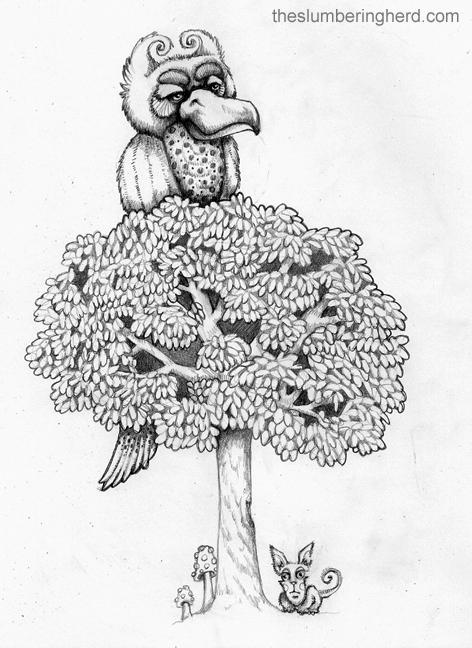 "Tree Bird, 9"" x 12"" pencils"