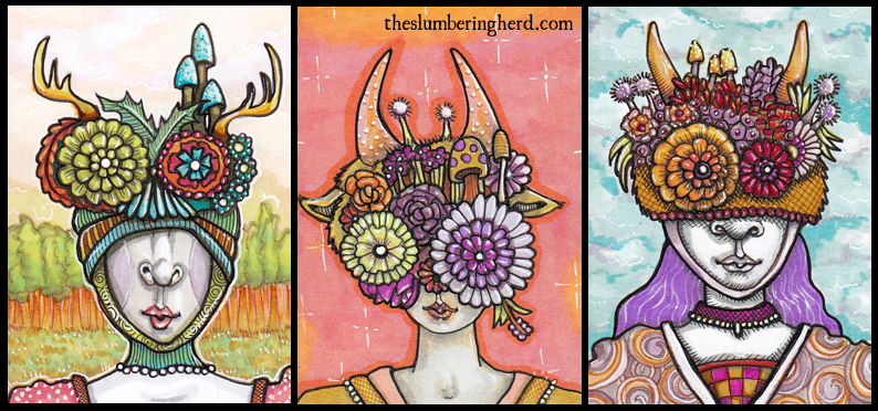 "Three More Flower Masks Each 2.5"" x 3.5""ink, Copics"