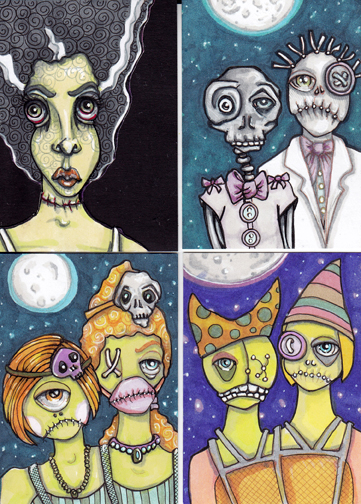 "Bride, Creepy Prom Date and two sets of Circus Creepers! Each 2.5"" x 3.5"" art cards, Copics"