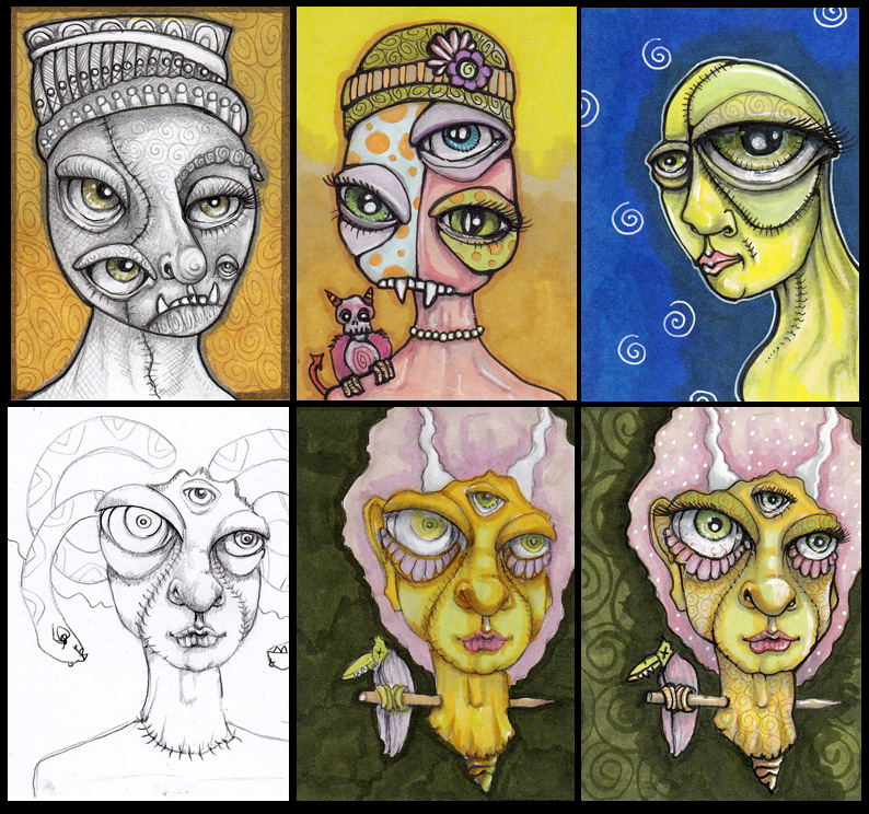 "Creepies with Creepy Eyes Each 2.5"" x 3.5"" ink and Copics"