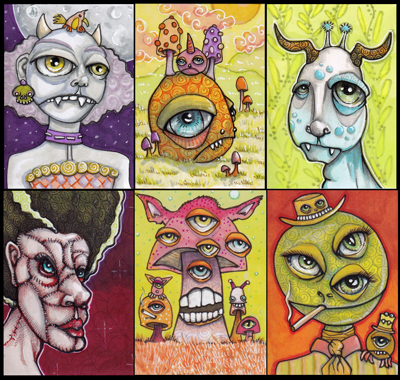 "Six creepy creeper cards! Each 2.5"" x 3.5"" Copics, fine liners, gel pen"
